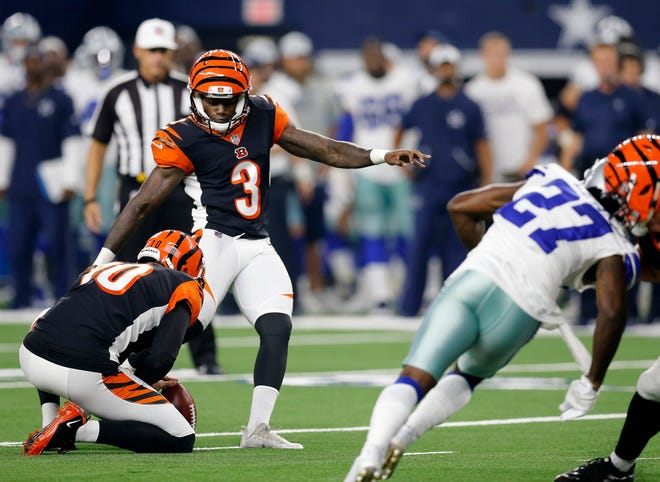 Cincinnati Bengals kicker Jon Brown (3) kicks a field goal in the fourth quarter of the NFL Preseason Week Two game between the Dallas Cowboys and the Cincinnati Bengals at AT&T Stadium in Arlington, Texas, on Saturday, Aug. 18, 2018. The Bengals took a 21-13 win over the Cowboys,