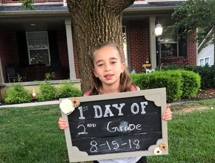 Laken Booth, is ready for the new school year on the first day, Aug. 15. She is a second-grader at North Pointe Elementary School.