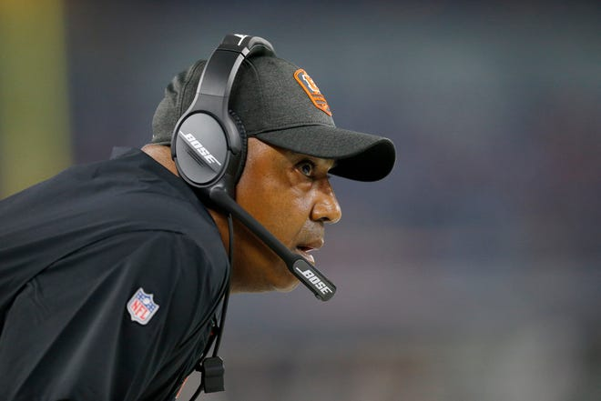 Cincinnati Bengals head coach Marvin Lewis watches from the sideline in the first quarter of the NFL Preseason Week Two game between the Dallas Cowboys and the Cincinnati Bengals at AT&T Stadium in Arlington, Texas, on Saturday, Aug. 18, 2018.