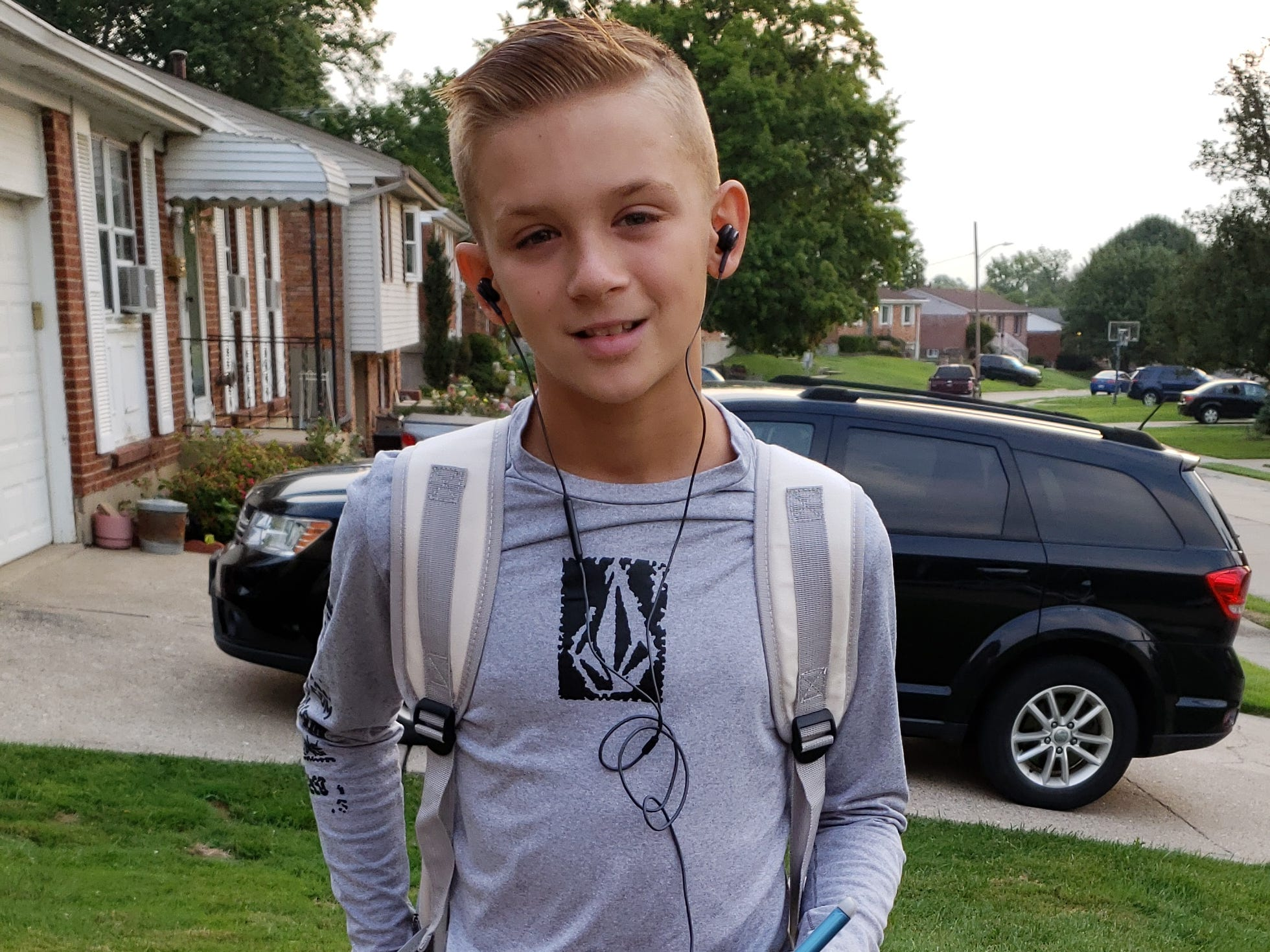 It's the first day of middle school for Preston Piper of Florence Aug. 15, 2018. He is a sixth-grader at Ockerman Middle School.