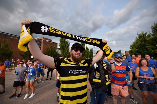A Columbus Crew fan made the trip to Cincinnati to watch the match between FC Cincinnati and Charleston Saturday, August 18th at Nippert Stadium