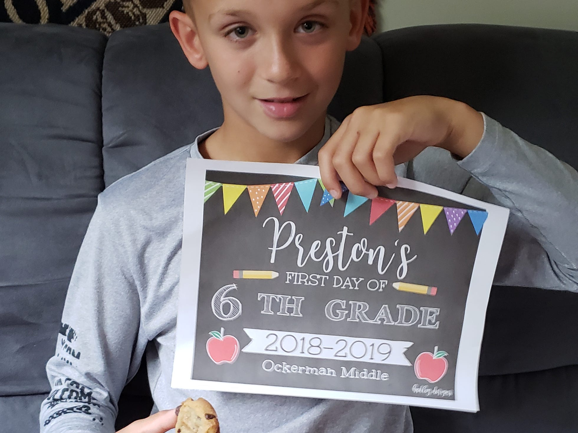 Fresh-baked cookies are a first day of school tradition for the Piper family of Florence. Preston Piper's first day of school at Ockerman Middle School was Aug. 15, 2018.