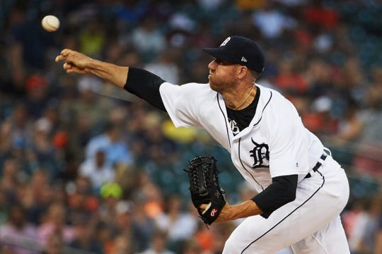 Detroit Tigers relief pitcher Zach McAllister pitches in the 5th inning against the Chicago White Sox at Comerica Park on Aug. 14, 2018.