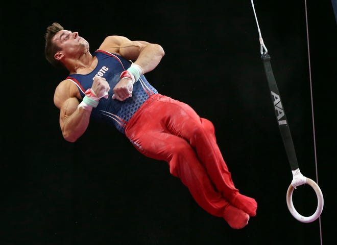 Sam Mikulak competes on the rings at the U.S. Gymnastics Championships on Saturday.