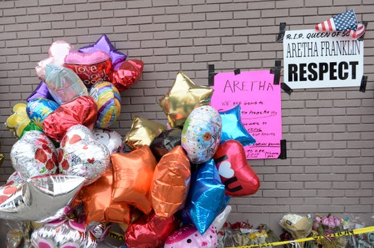 The memorial in honor of Aretha Franklin  outside New Bethel Baptist Church.