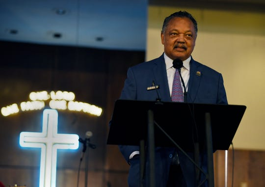 The Rev. Jesse Jackson gives a sermon  in honor of his longtime friend Aretha Franklin at New Bethel Baptist Church on Sunday.