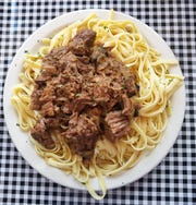 Brandon Acles offers creative daily specials such as these succulent beef tips over pasta.