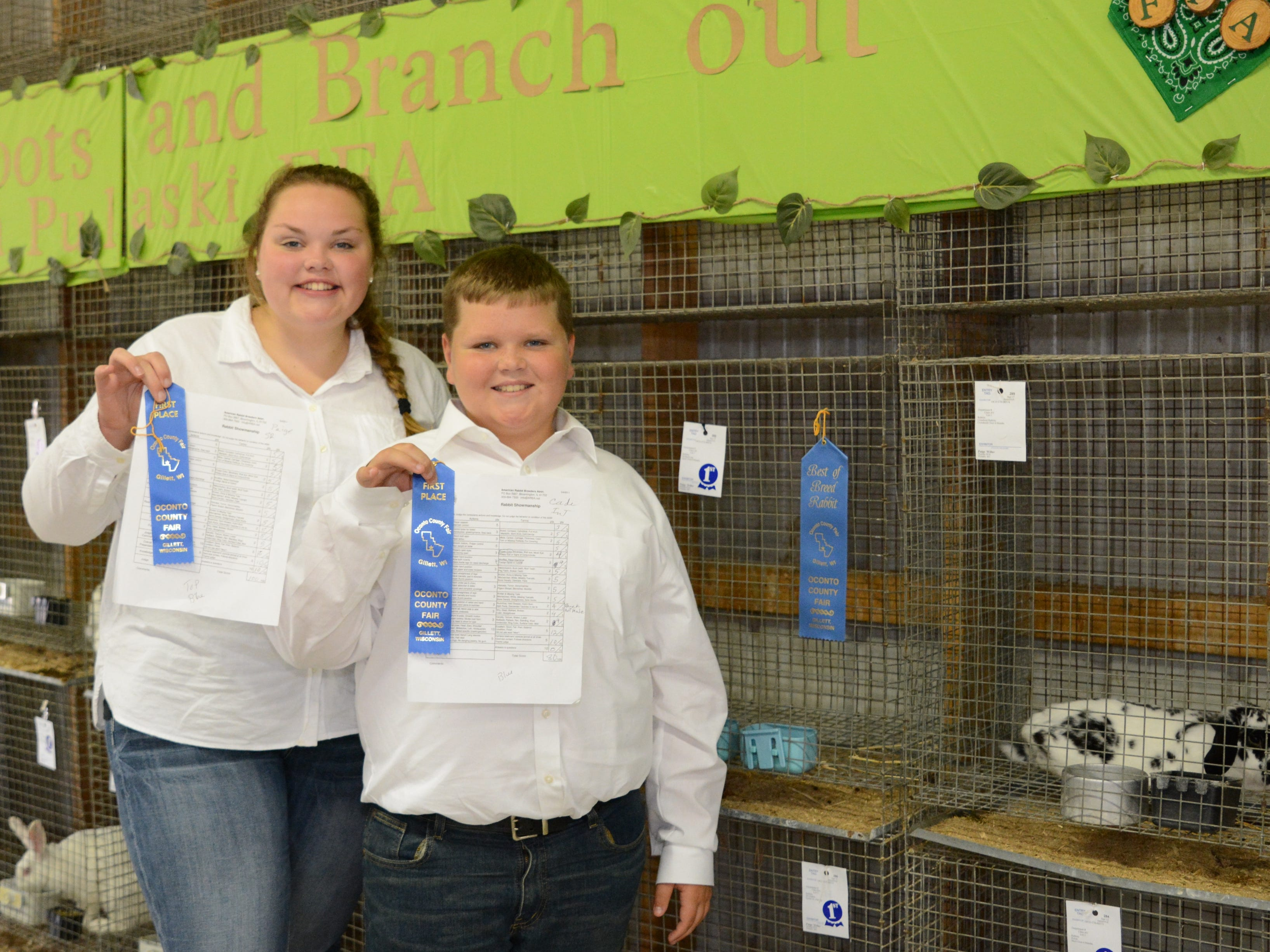 Siblings Paige Willer 16, and Cade Willer, 12,  combined to win Best of Breed, Senior Showmanship, and Runner-up in the Intermediate Showmanship for their rabbits at the Oconto County Fair on Friday, Aug. 17.