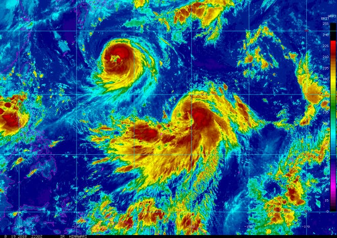 A National Weather Service satellite image dated Aug. 19, 2018 shows Tropical Storm Cimaron making its way to the Marianas.