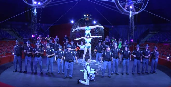 Indiana State Police joined the Indiana State Fair circus to join in the nation-wide lip sync battle