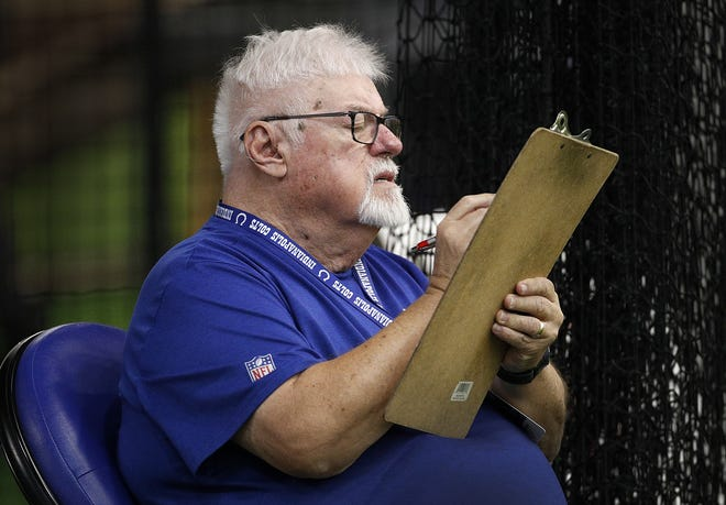 Voice of the Indianapolis Colts Bob Lamey keeps track of the players on the practice field during their sixth day of training camp at Grand Park in Westfield on Wednesday, August 1, 2018.