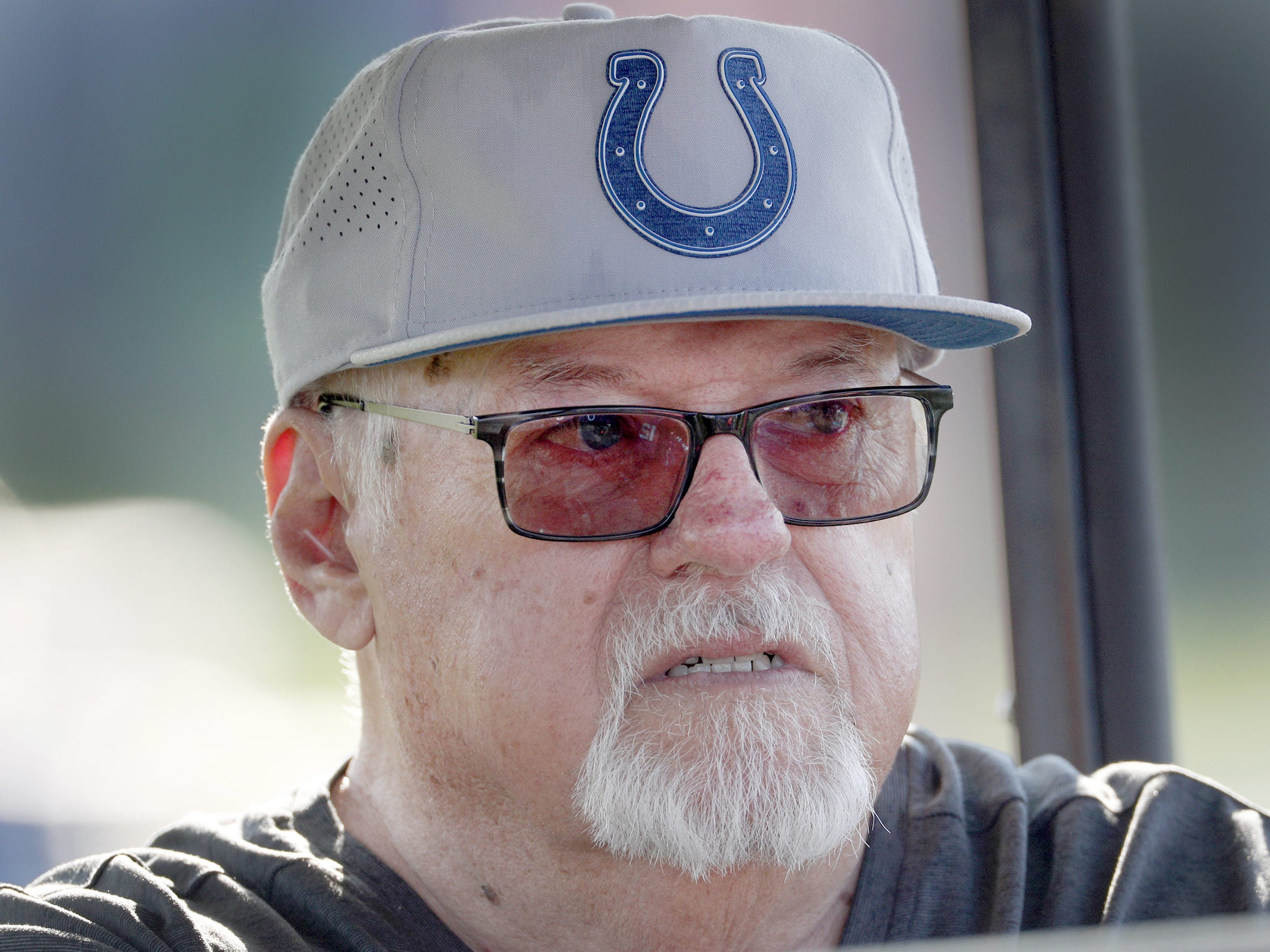Indianapolis Colts play-by-play voice Bob Lamey during their seventh day of training camp at Grand Park in Westfield on Thursday, August 2, 2018. Lamey will retire after 31 seasons.