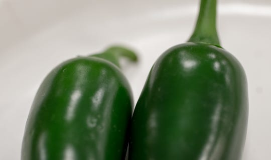 Jalapeno peppers, which were grown by Lydia Rockey, and won first place in the backyard garden division, Indiana State Fair, Indianapolis, Saturday, Aug. 18, 2018. The fair ends on Sunday.
