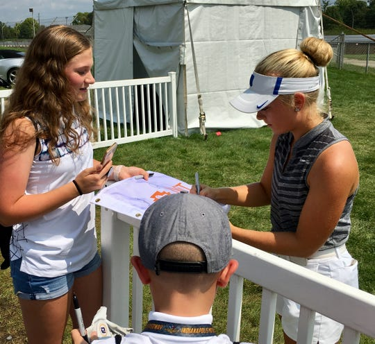 Greenwood's Erica Shepherd signs autographs at the IWIT Championship at Brickyard Crossing. Aug. 19, 2018