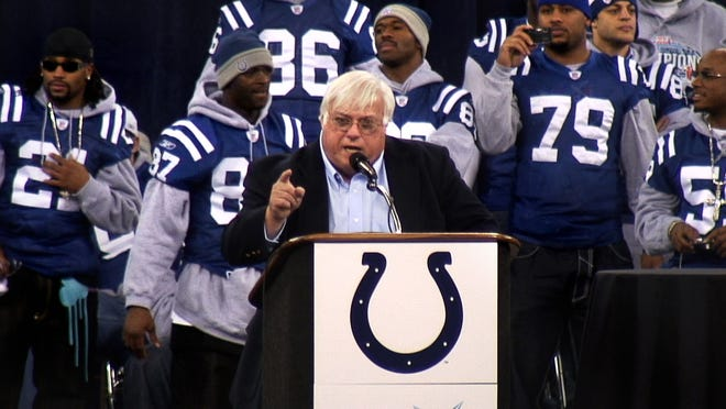 Former voice of the Colts Bob Lamey emcees the Super Bowl XLI celebration rally in the RCA Dome on Monday, February 5, 2007 for the Indianapolis Colts.