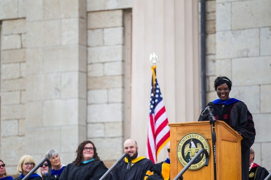 Melissa Shivers, the University of Iowa vice president for student life, speaks during the University of Iowa class of 2022 convocation on Sunday, Aug. 19, 2018, at the Pentacrest in Iowa City.