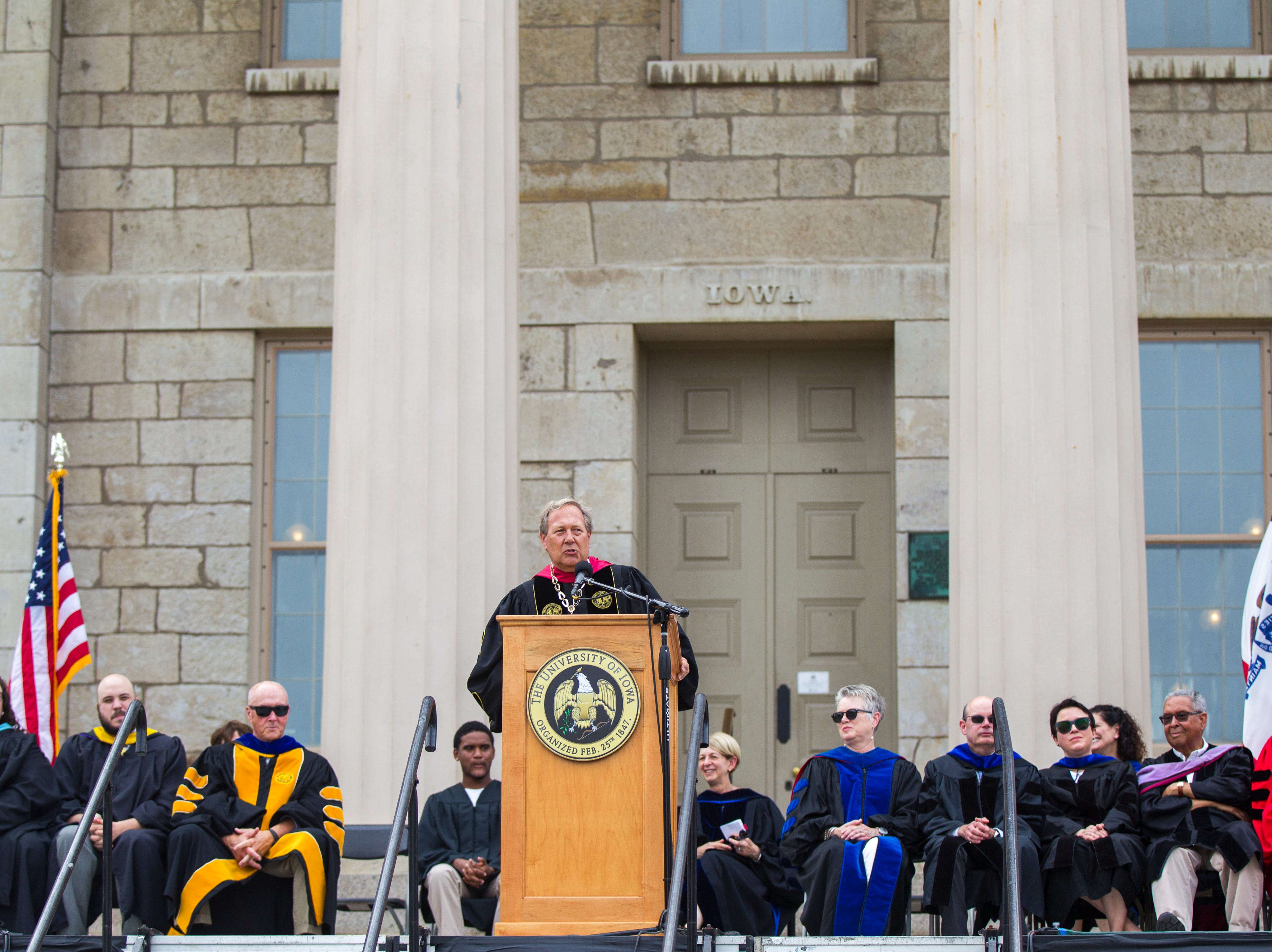 University of Iowa President J. Bruce Harreld speaks during the University of Iowa class of 2022 convocation on Sunday, Aug. 19, 2018, at the Pentacrest in Iowa City. Harreld is the 20th president at the university and began in 2015.