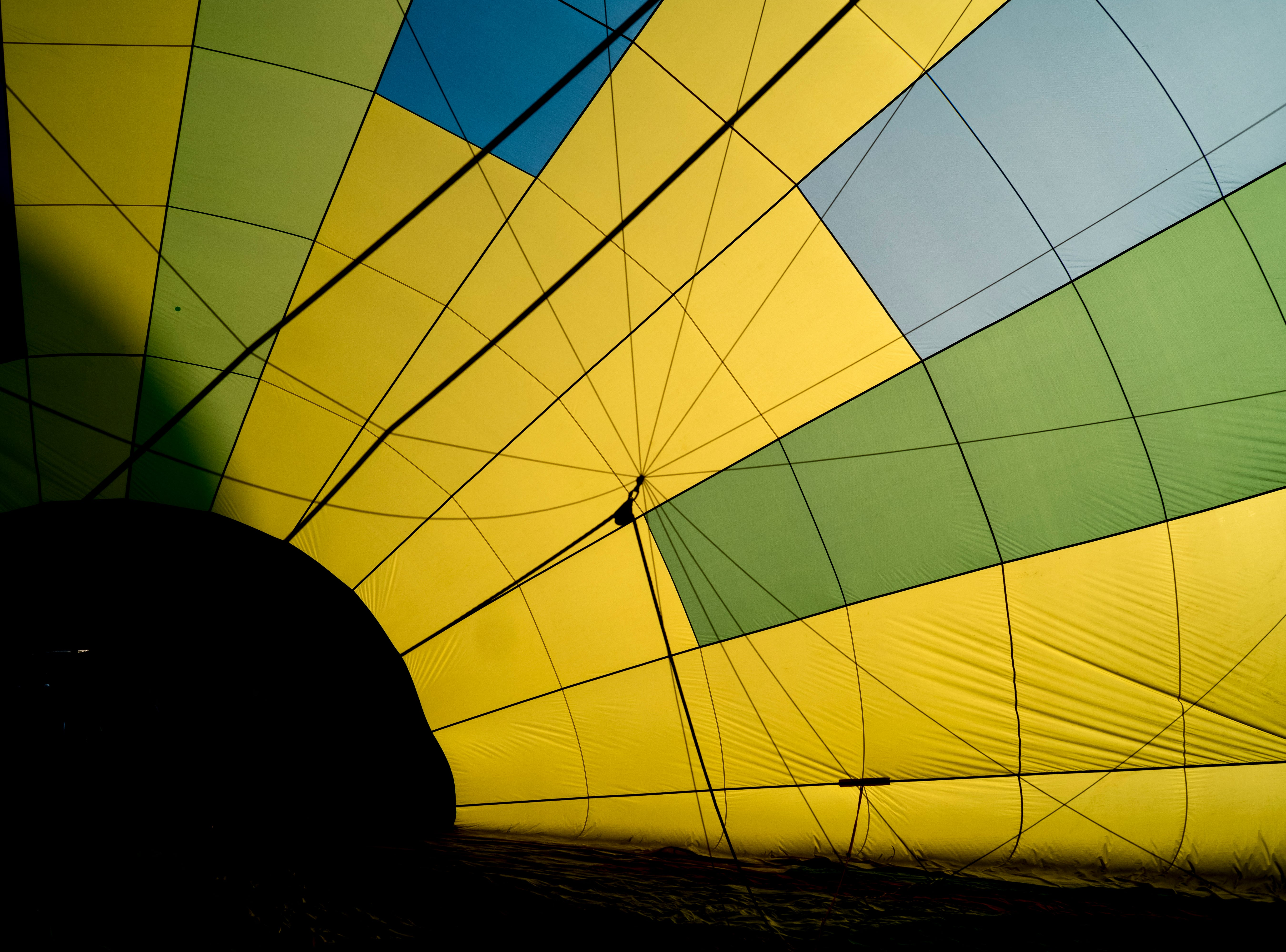 Inside an inflating hot air balloon at the second annual Smoky Mountain Balloon Festival in Townsend, Tennessee on Saturday, August 18, 2018. The festival featured several hot air balloons, food trucks, wine tasting and live entertainment.