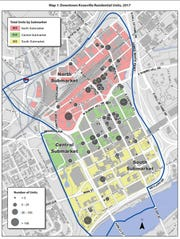In downtown Knoxville, 1,833 residential units can be found among the north, central and south submarkets.