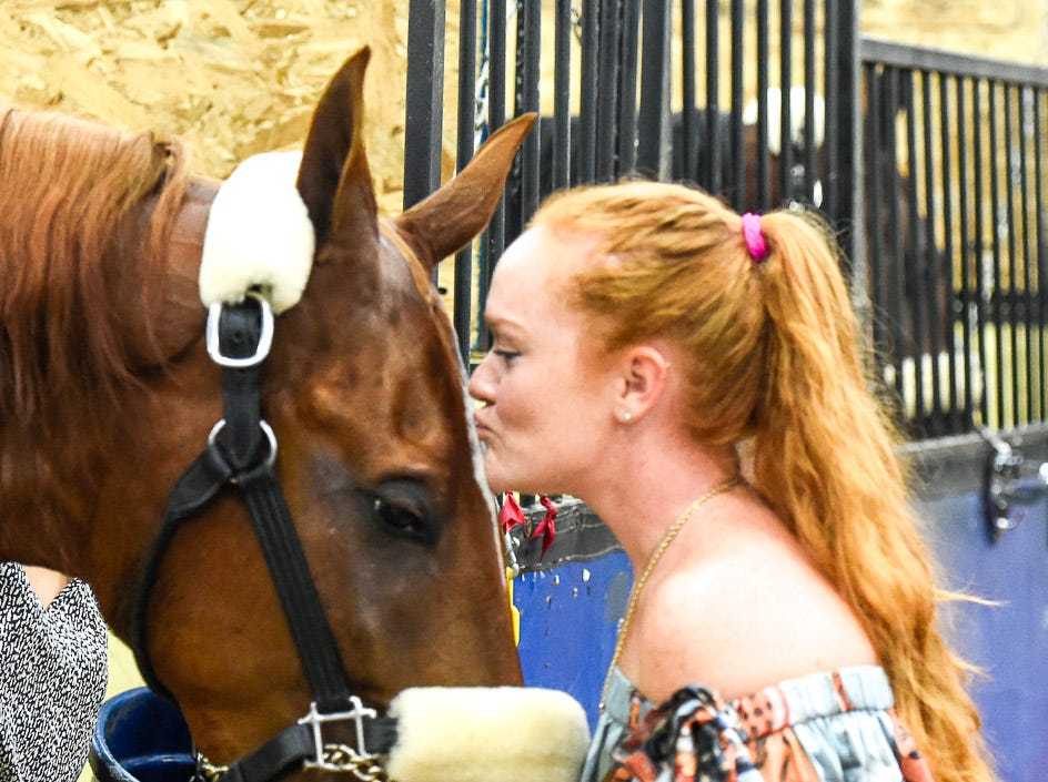 I'm Ziggy Stardust gets a kiss from Ali DeGray after winning 5 GAITED KY COUNTY FAIR CHAMPIONSHIP on Saturday night at the World's Championship Horse Show