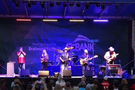 Country rock band McGuffey Lane entertains the crowd during the 2018 Bucyrus Bratwurst Festival.