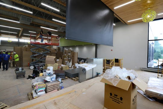 A new cafetorium with a presentation stage is part of an addition to Ixonia Elementary School.