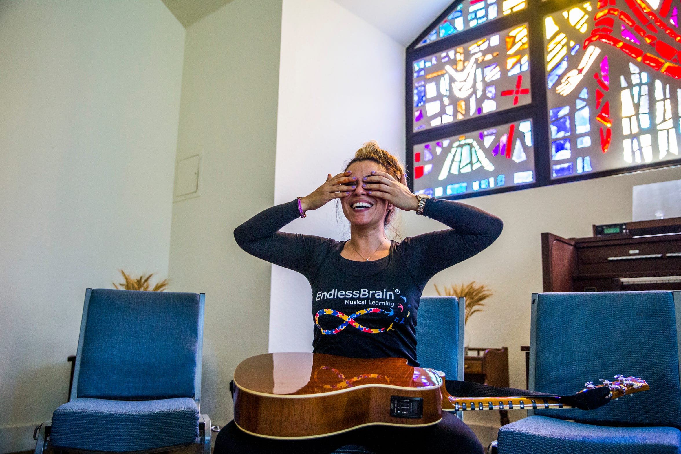 "Marcela Guimoye leads a drum circle during the EndlessBrain summer camp at Emmanuel Lutheran Church in Naples on Thursday, Aug. 9, 2018. Guimoye started EndlessBrain last year and it got its 501(c)(3) status in February. ""I want to give all of my attention to this. I think I can help so many more kids this way,"" Guimoye says."