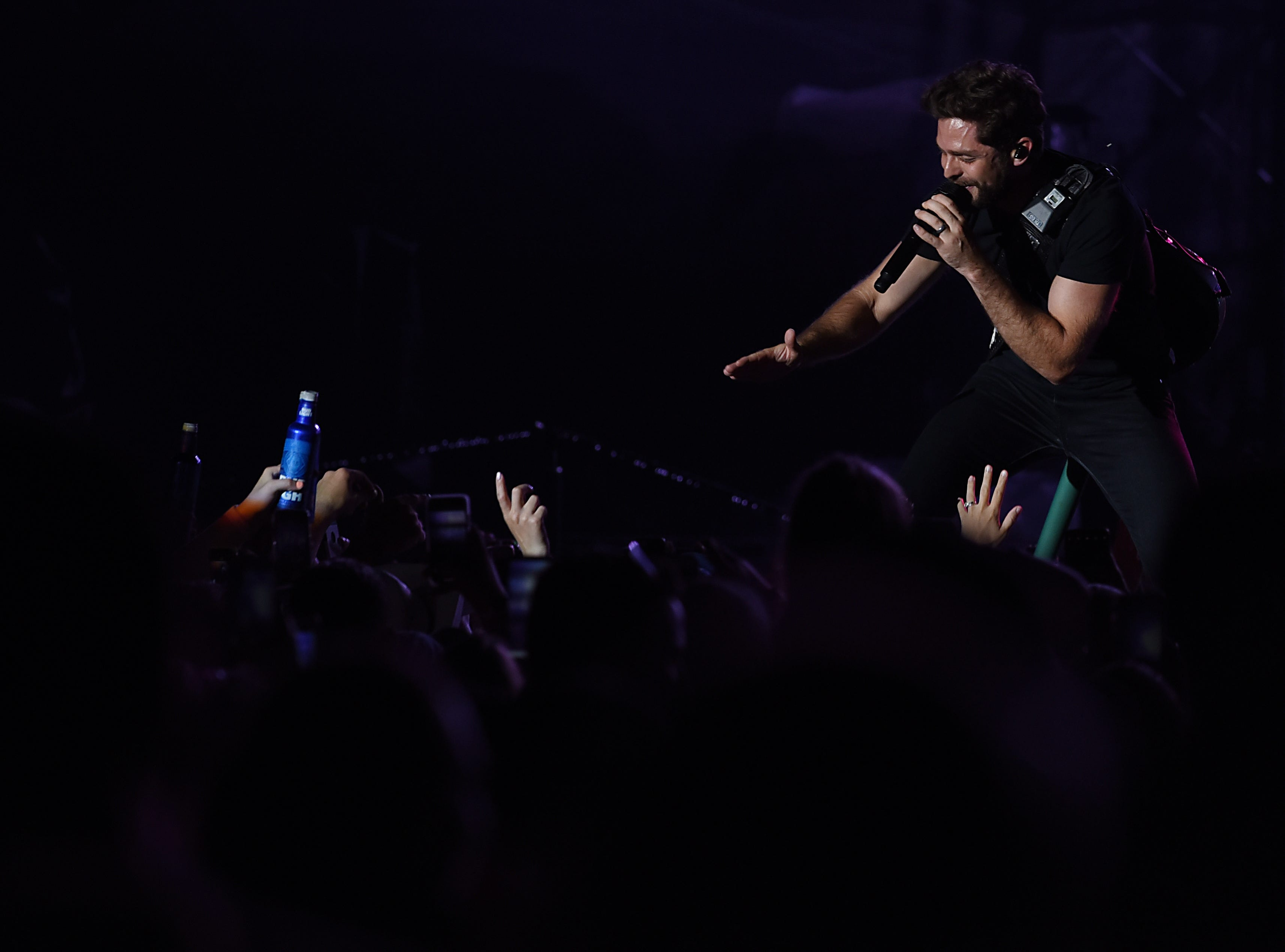 Thomas Rhett greets fans as he performs as one of the opening acts at the Kenny Chesney concert at MetLife stadium in East Rutherford on Saturday August 18, 2018.