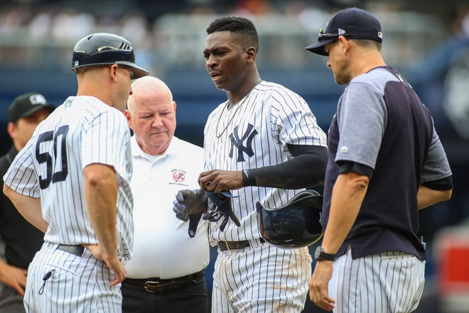 New York Yankees shortstop Didi Gregorius (18) is checked out by first base coach Reggie Willits (50) and manager Aaron Boone (right) after his collision at first base against the Toronto Blue Jays at Yankee Stadium.