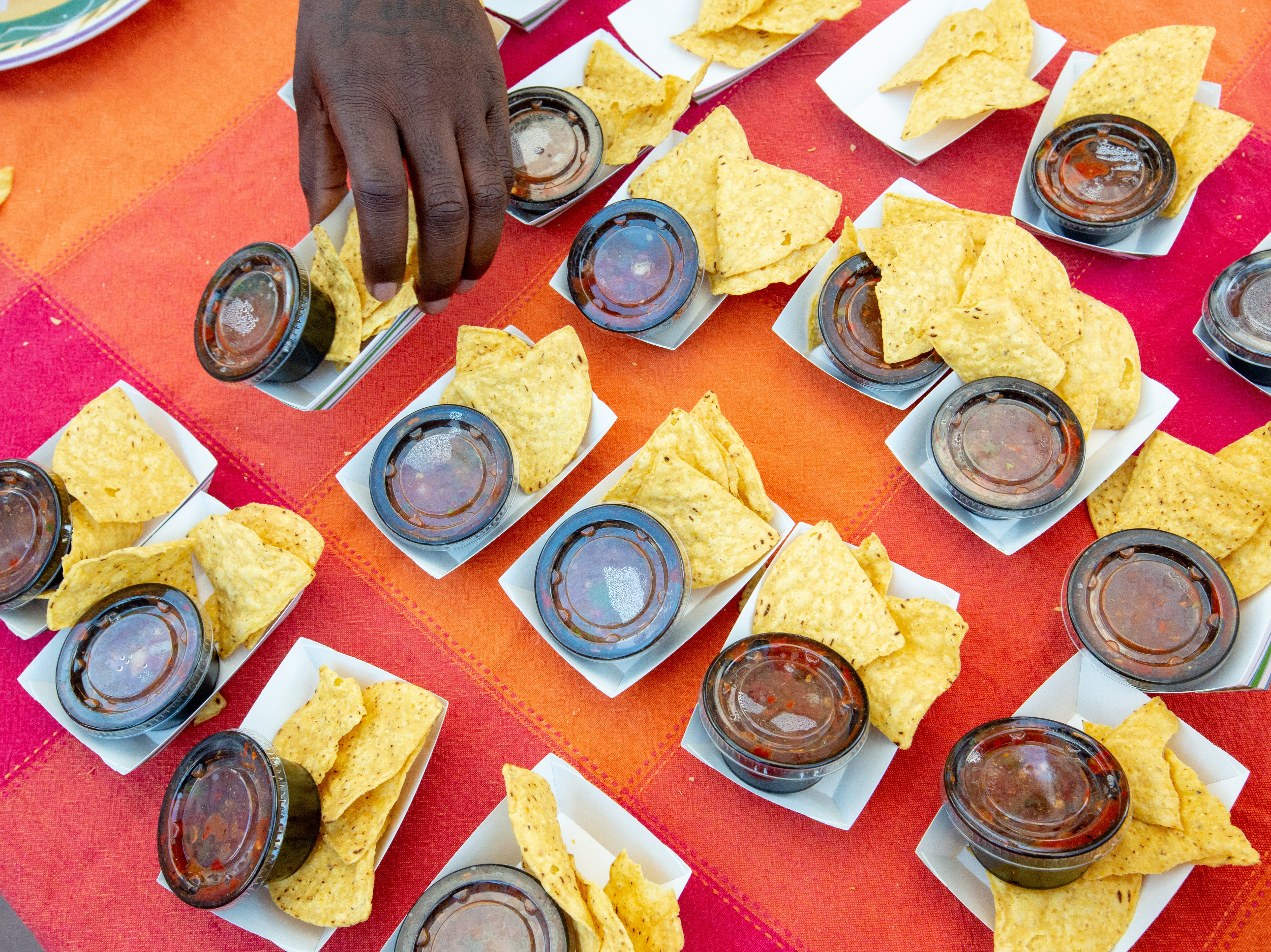 Garduño's Restaurant & Cantina chip and salsa samples are available for patrons during the 2018 Las Cruces Summer Beer Festival and Salsa Fest at Plaza de Las Cruces on Saturday, August 18, 2018.