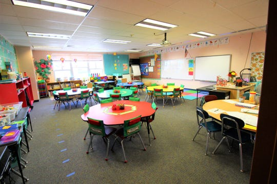 A classroom at the White Mountain Elementary Complex is ready for children to learn reading, writing, and mathematics during the 2018-2019 school year.