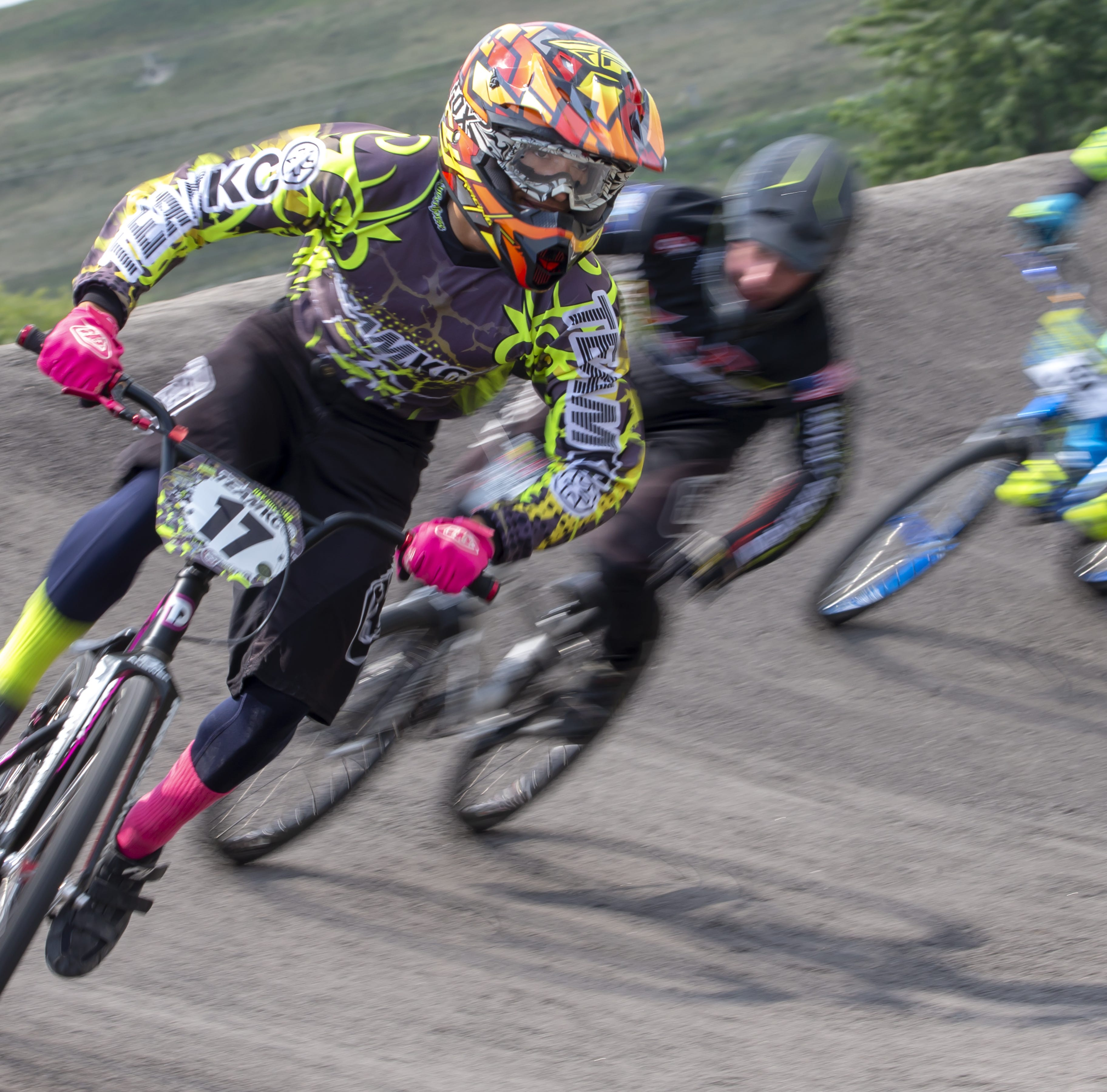Competitors race at Winnebagoland BMX track in Oshkosh, Wisconsin, during the Wisconsin State Finals and Tangent ProAM on Sunday, August 19, 2018.