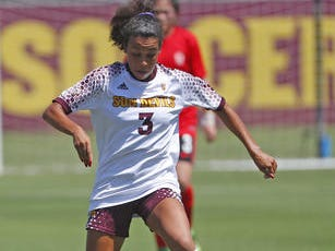 ASU's Kylie Miniefield (3) dribbles the ball against Beijing Normal during a game at Sun Devil Soccer Stadium in Tempe, Ariz. on Aug. 18, 2018.