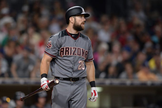 Aug 18, 2018: Arizona Diamondbacks right fielder Steven Souza Jr. reacts after striking out during the seventh inning against the San Diego Padres at Petco Park.