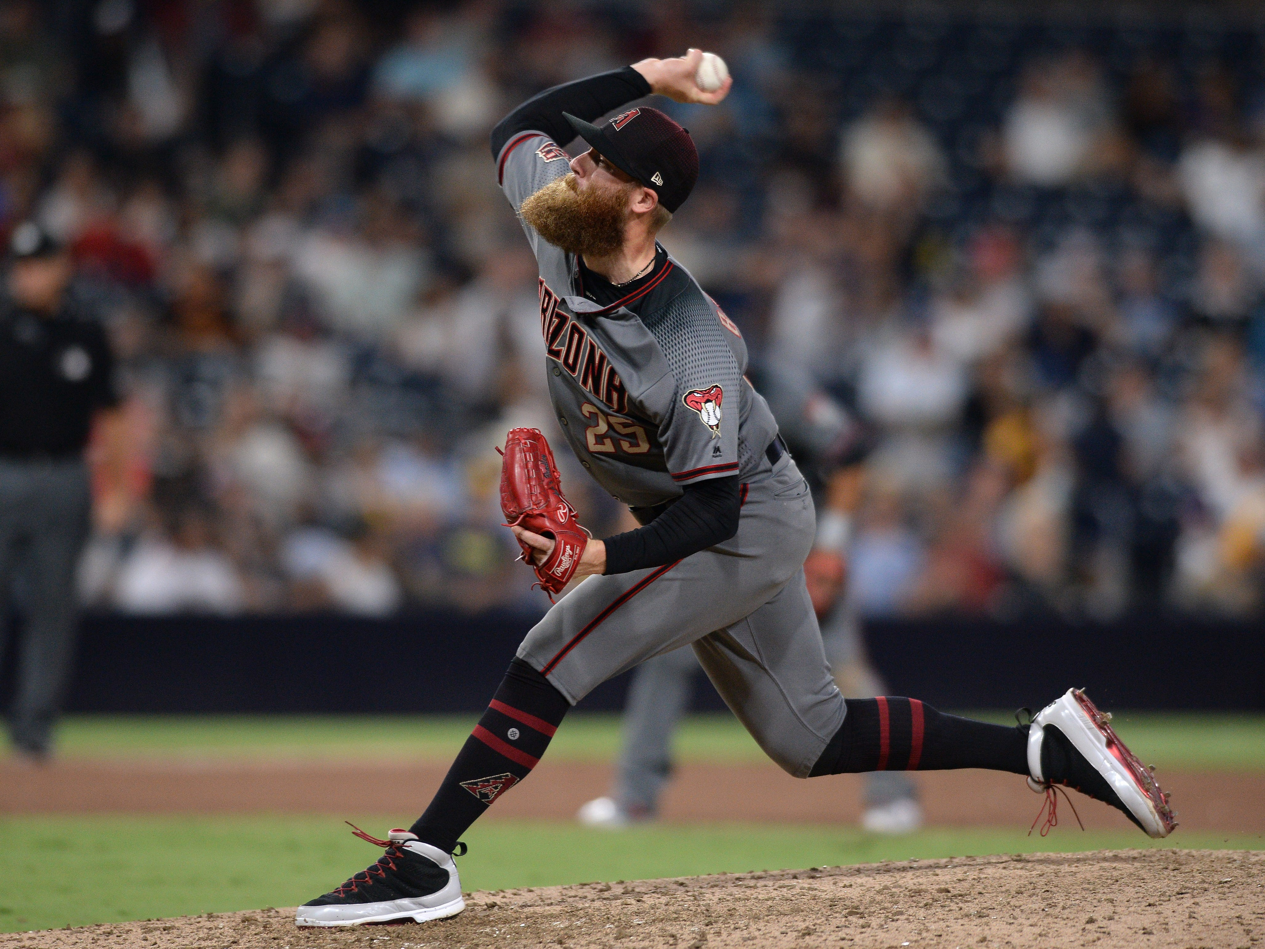 Aug 18, 2018: Arizona Diamondbacks relief pitcher Archie Bradley works against a San Diego Padres batter during the eighth inning at Petco Park.