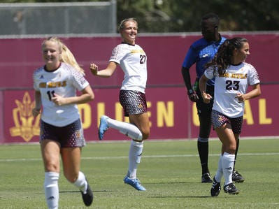 ASU's Marleen Schimmer (27) dances after scoring against Beijing Normal during a game at Sun Devil Soccer Stadium in Tempe, Ariz. on Aug. 18, 2018.