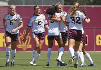 ASU's Marleen Schimmer (27) celebrates scoring with her teammates against Beijing Normal during a game at Sun Devil Soccer Stadium in Tempe, Ariz. on Aug. 18, 2018.