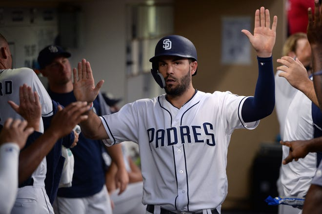 Aug 18, 2018: San Diego Padres first baseman Eric Hosmer (R) is greeted in the dugout after scoring on a single by catcher Austin Hedges (not pictured) during the fifth inning against the Arizona Diamondbacks at Petco Park.