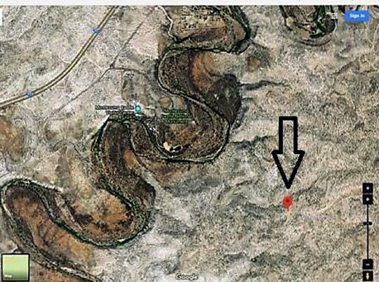 The area where a small plane crashed on Aug. 18, 2018 is depicted in a map provided by the Yavapai County Sheriff's Office.