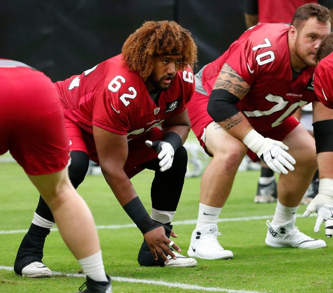 Arizona Cardinals center Daniel Munyer (62) got his first taste at left guard Friday night against the New Orleans Saints.