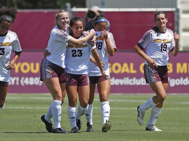 ASU's Olivia Nguyen (23) celebrates a goal with her teammates against Beijing Normal during a game at Sun Devil Soccer Stadium in Tempe, Ariz. on Aug. 18, 2018.