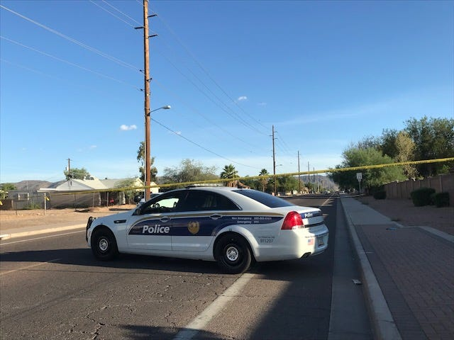 Phoenix police have blocked off an area after a shooting Saturday.