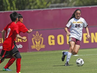 ASU's Natalie Stephens (26) dribbles the ball against Beijing Normal during a game at Sun Devil Soccer Stadium in Tempe, Ariz. on Aug. 18, 2018.