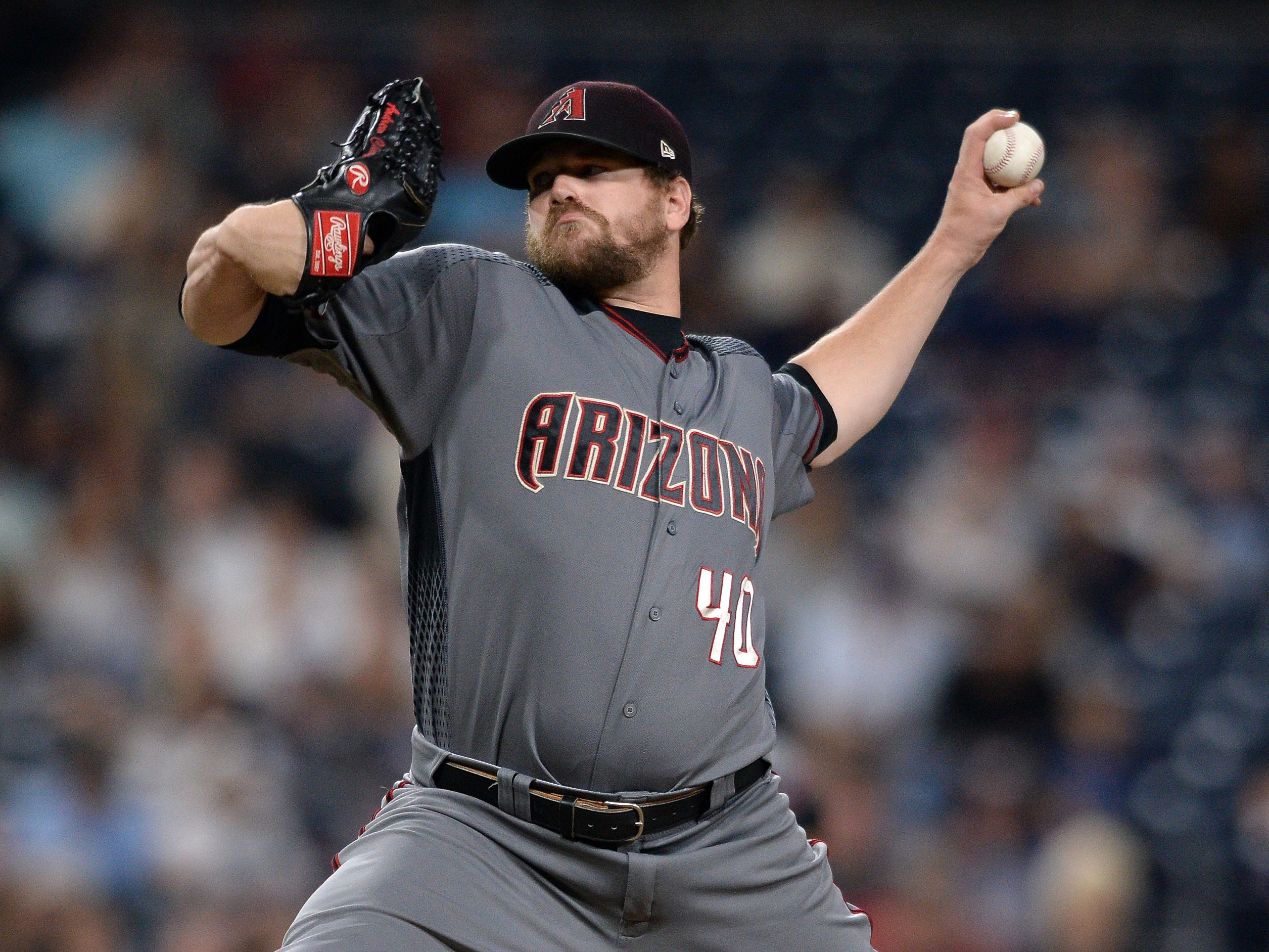 Aug 18, 2018: Arizona Diamondbacks relief pitcher Andrew Chafin works against a San Diego Padres batter during the ninth inning at Petco Park.