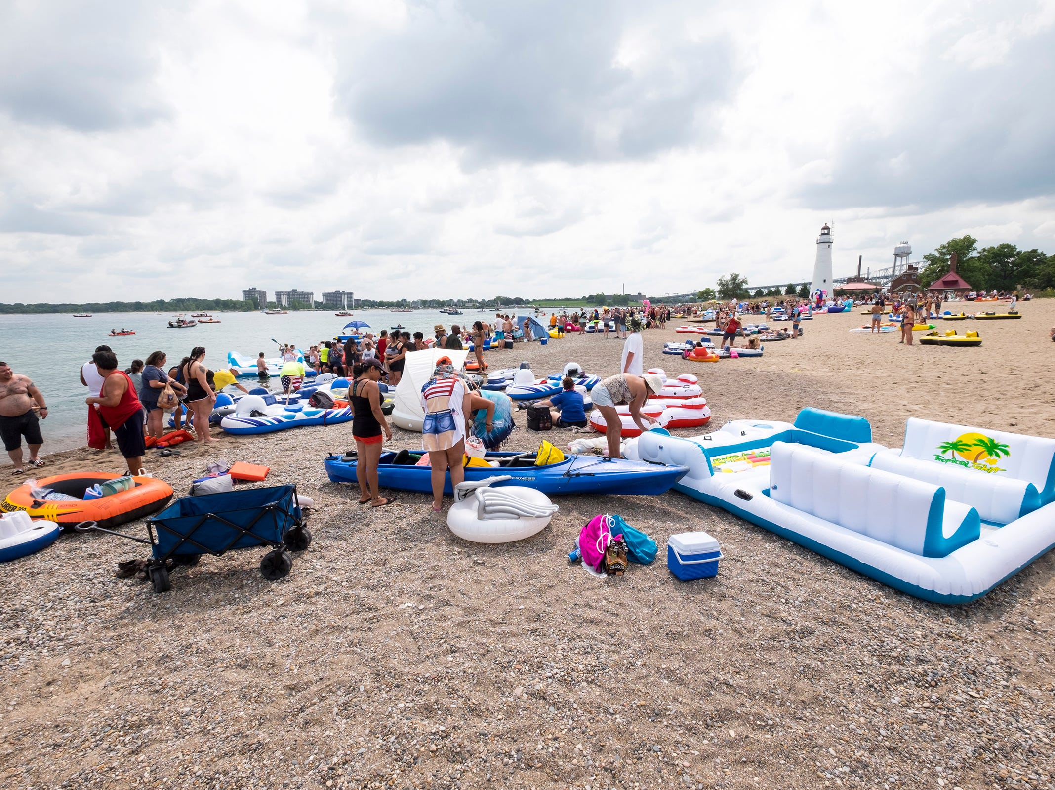 Float Down participants fill Lighthouse Beach Sunday, Aug. 19, 2018, before the annual event launches.