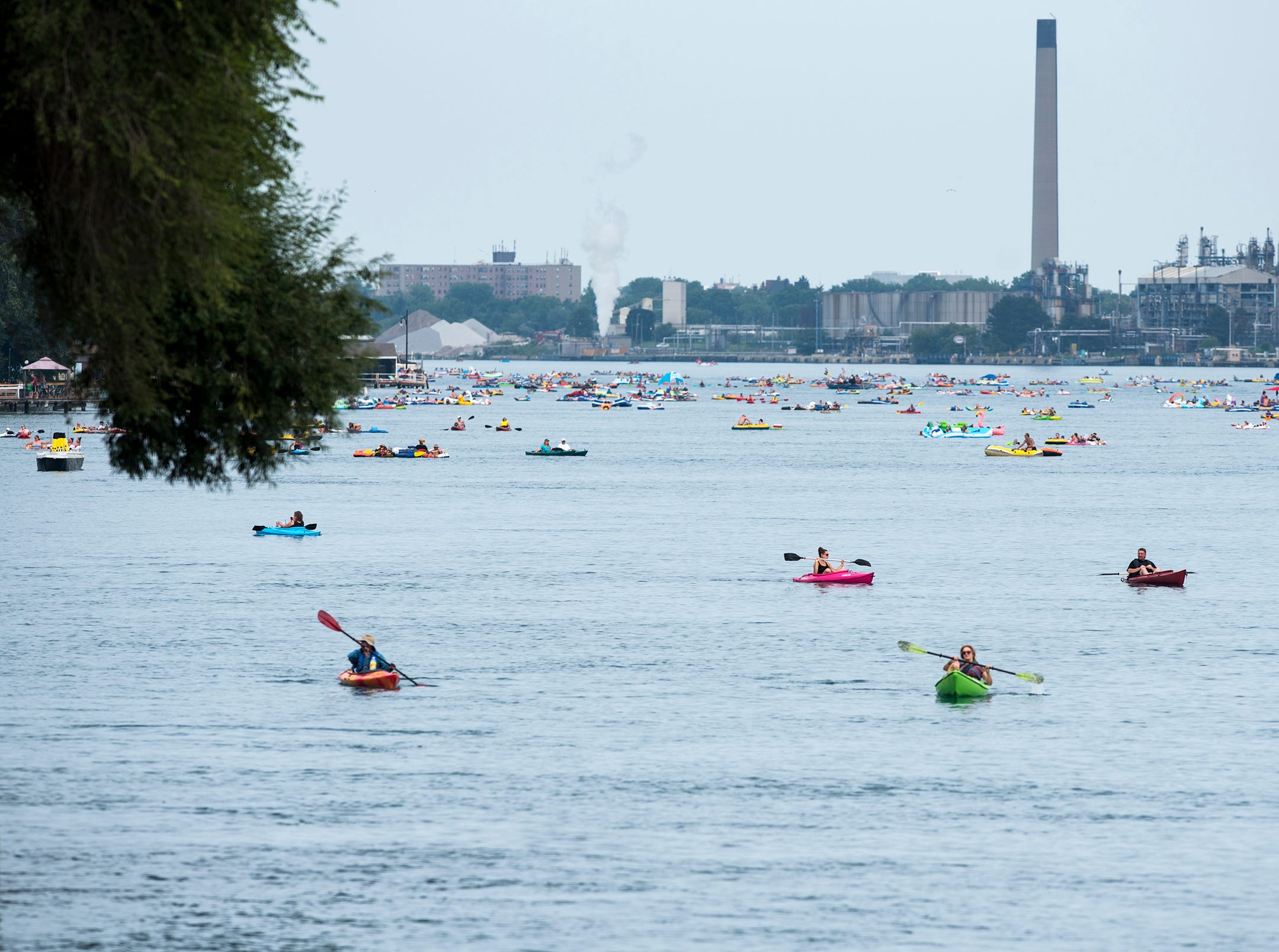 Float Down participants float on the St. Clair River north of the Moose Lodge Sunday, Aug. 19, 2018, during the annual Float Down.
