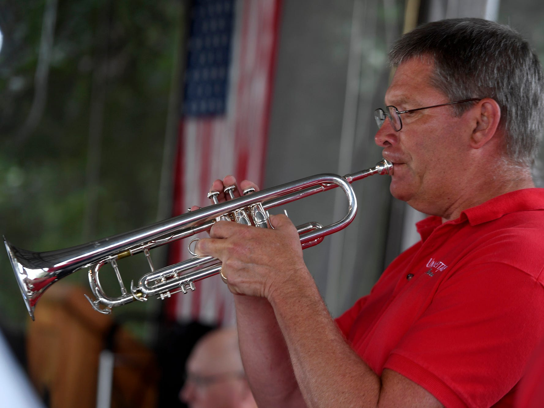 Dr. James Smolko solos during the Unforgettable Big Band performance at Brown's Orchard & Farm Market, Sunday, August 18,  2018. John A. Pavoncello photo