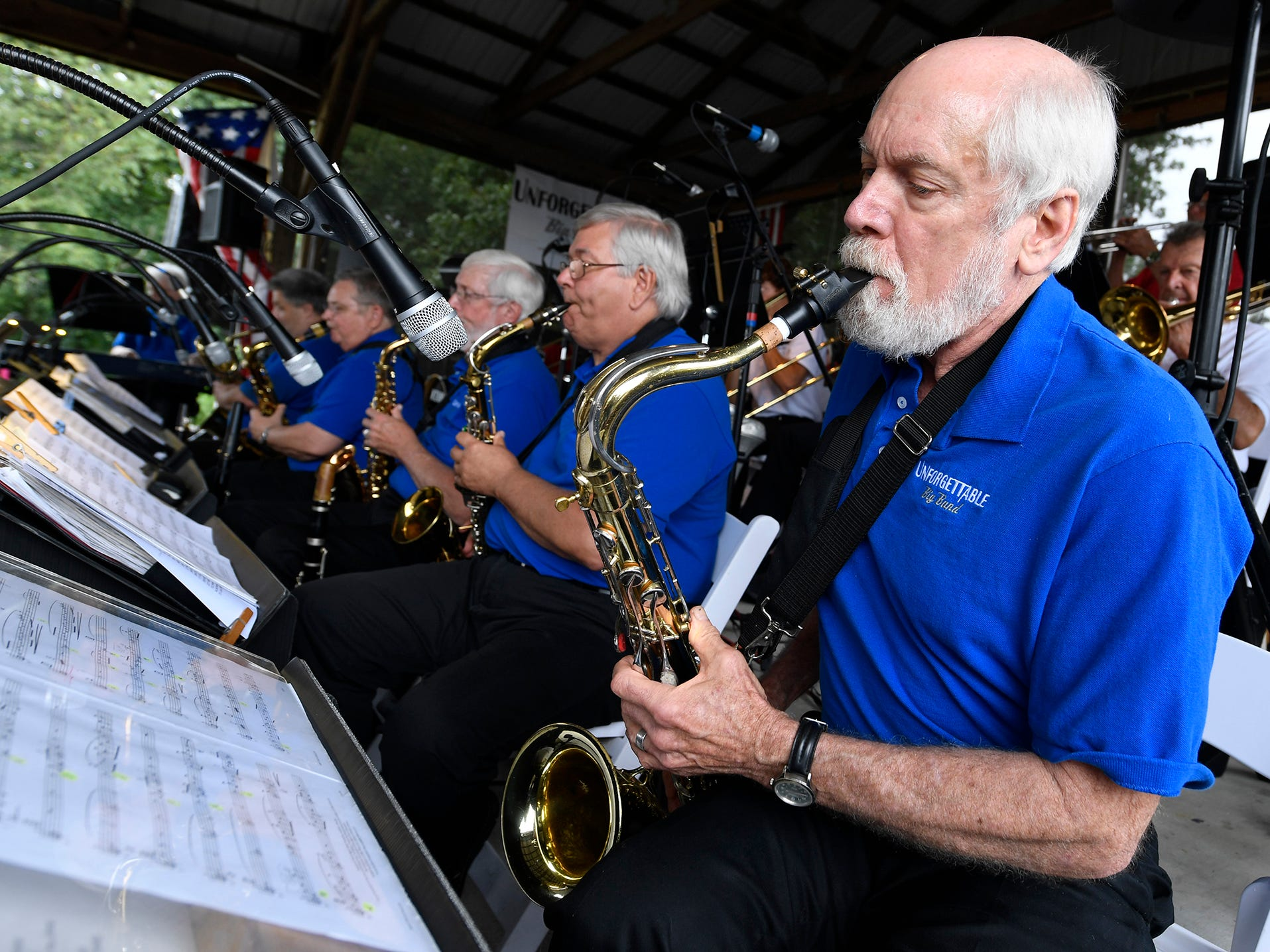 York's Unforgettable Big Band, including saxophone player Kerry Kyle, right, performs at Brown's Orchard & Farm Market, Sunday, August 18,  2018. John A. Pavoncello photo