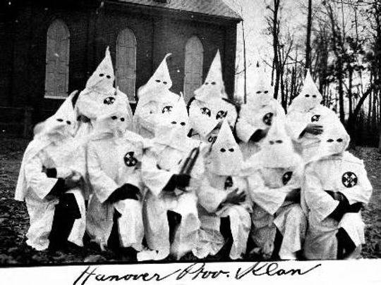 In North York, participants in Klan parade end up in the community playground, where 5,000 people observed an induction ceremony for 51 men, 23 women and 13 junior candidates dressed in full regalia. The last evening of the three-day convention ended with the firing of one 60-foot cross and 15, 15-foot-high crosses. The state Konklave of the Ku Klux Klan in Pennsylvania thus ended.
