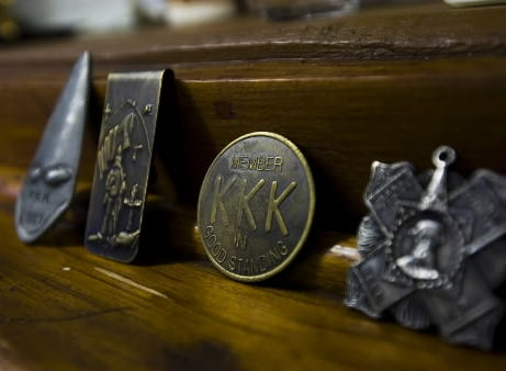 By 1933, KKK membership fell in the state, but the York klavern remained one of the state's largest. Franklin and Philadelphia counties top the list.  Here, badges and money clips are a few artifacts from the Hanover area's Ku Klux Klan's past. Rick Kress displayed these artifacts in his M&J Hanover Museum several years ago.